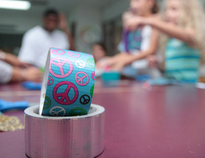 Campers made wallets out of duct tape in various colors and designs.