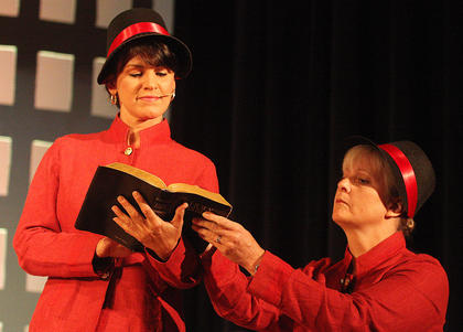 Sherry Barr Howard, left, plays the part of Sergeant Sarah Brown, a missionary with the Save-a-Soul Mission. She's pictured with fellow missionary Avida Abernathy, played by Cheryl May.