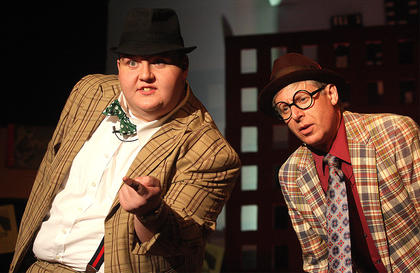Les Roller, left, plays the part of Nicely-Nicely Johnson and Mark Thomas plays the part of Benny Southstreet.