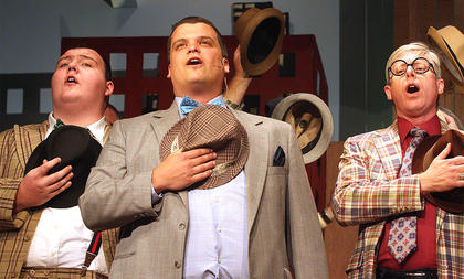 Pictured, from left, are Les Roller playing the part of Nicely-Nicely Johnson, Jody Graham playing the part of Nathan Detroit and Mark Thomas playing the part of Benny Southstreet.