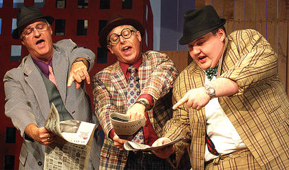 Pictured, from left, are Steven Skaggs, Mark Thomas playing the part of Benny Southstreet and Les Roller playing the part of Nicely-Nicely Johnson.
