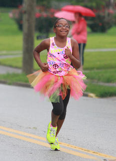 Imani Biggers, who has participated in Girls on the Run, was among the runners Saturday morning.