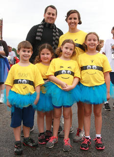 The best team theme was inspired by the Despicable Me movies. Front row (from left): Aiden Kelley, Peyton Ervin, Kaileigh Ervin, and Hailey Kelley. Back: Chris Kelley and Amber Ervin.