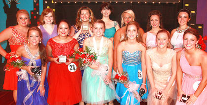 The awards winners from the 2015 Marion County Distinguished Young Woman program are pictured above. Front row (from left): Laura Jo Spalding (second runner-up, interview, self expression), Leah Mudd (Be Your Best Self), Rachel Gootee (2015 Distinguished Young Woman, preliminary scholastic, self expression, talent, Be Your Best Self), Taylor Scott (third runner-up, overall scholastic, fitness), Elizabeth Buckman (fitness), Abby Miles (fitness). Back row: Angel Anderson (Spirit), Carrie Fowler (preliminary scholastic), Sara Thompson (interview), Emily Ford (Be Your Best Self), Caroline Peterson (talent), Stephanie Farmer (interview, self expression), Mary Beth Childers (first runner-up, talent). Not pictured: Kaitlyn Spalding (scholastic).