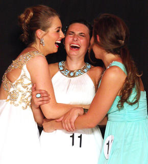 Mary Beth Childers, center, reacts after being named first runner-up. Paige Buckman, left, and Sarah Abell celebrate with Childers.