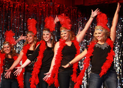 From left, Mary Helen Hamilton, Madison Cassidy, Hannah Wilson, Haley Hamilton and Lindsey Kirkland of the Glamour group dance during the introduction.