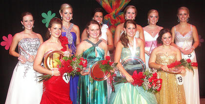 The 2012 Marion County Junior Miss contestants pictured above all received awards Saturday night at the Roby Dome. Front row (from left): Catharine Ball (first runner-up, talent, fitness, self expression and interview), Anne Claire Thomas (second runner-up, interview, preliminary scholastic and self expression), Paige Wilson (Marion County Distinguished Young Woman, talent, self expression, interview and preliminary scholastic), Taylor Corbett (third runner-up, interview and overall scholastic). Back row: Josephine Ann Elder (fitness), Anne Kathryn Spalding (fitness, self expression and interview), Sydney Abell (talent, fitness and preliminary scholastic), Olivia Carrico (talent), Lauren Buckman (Spirit of Junior Miss) and Ann Rachel Bell (Be Your Best Self).