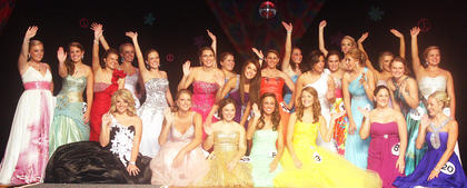 This year's Marion County Junior Miss participants gather for one last hurrah at the front of the stage.