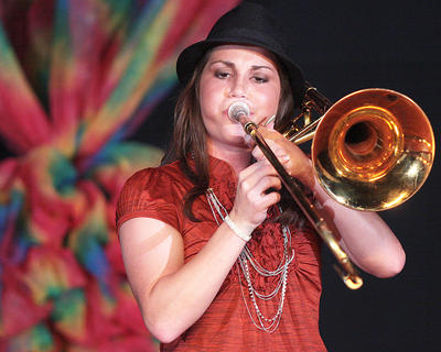 Heather Brady plays the trombone as her talent.