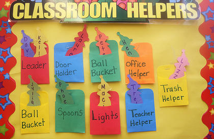 This bulletin board identifies Gina Carter&#039;s helpers in her kindergarten/first grade class.