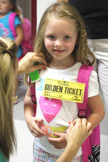 Haiden Ballard is all smiles on her first day of kindergarten.