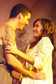 Lysander, played by Dakota Rogers, and Hermia, played by Natalie Warren, celebrate their love and future marriage.