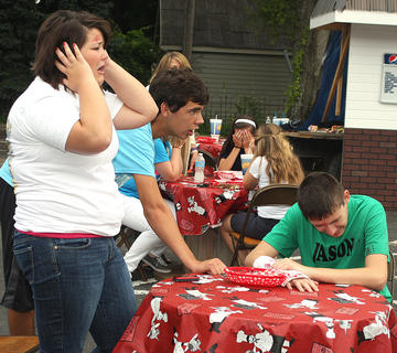 Scene four: Ariel Bright plays the driver of the car who was texting and caused the accident. Also pictured in this scene are Ryker Cassidy (light blue shirt), Nathan Bagwell (Jason), Linda Gribbins (store owner who called 911), Laney Hall, Isabella Glasscock and Morgan Roney.