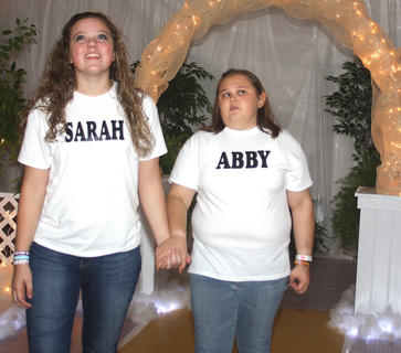 Scene 7: Laura Beth Rice (Sarah) and Amanda Lyvers (Abby) are in awe at the beauty of Heaven.