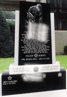 This image shows the plan for the monument honoring Marion County emergency services personnel who die in the line of duty. The Keith Monument Company is designing the monument.