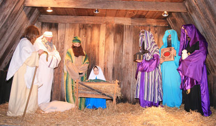 Lebanon United Methodist Church hosts a living nativity during Dickens Christmas. 
