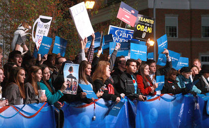 After the debate, Obama supporters had claimed most of the positions behind MSNBC host Chris Matthews as he was broadcasting.