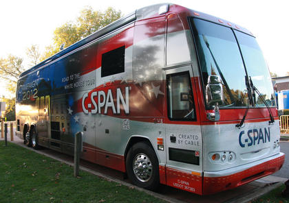 The C-SPAN van was also on hand for the debate.
