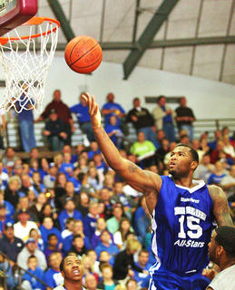 DeMarcus Cousins lays the ball into the basket in route to his game high 38 points Thursday night at the Roby Dome.