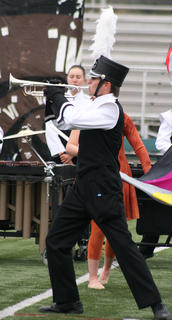 Zack Terrell plays the trumpet during Saturday's performance.