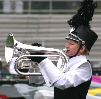 Matthew Huff plays the mellophone in the Class AAAA semifinals.