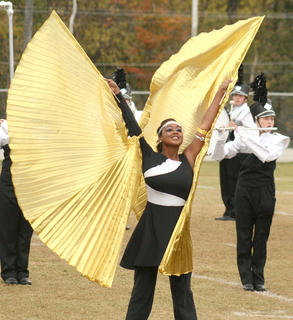 Jarie Newby spreads her wings during the state semifinal performance. 