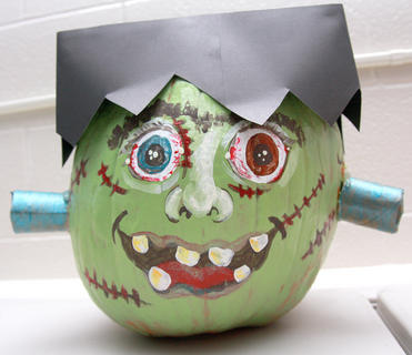 Chasity Smith's preschool students at St. Augustine School got in the Halloween spirit by decorating pumpkins. Smith said the students and their families were encouraged to create their pumpkins as a family project for October. Frankenstein's monster was the inspiration for this creation.