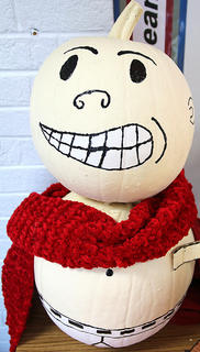 Several pumpkins were used to create Captain Underpants from the children's novel series.