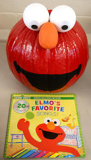 Everyone's favorite Sesame Street character Elmo was the inspiration behind this pumpkin.