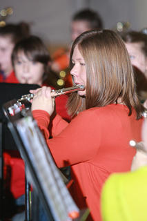 "The Marion County Middle School band performed its annual Halloween concert for students at each public elementary and middle school last week. The performance used music (including familiar songs from the Harry Potter movies and musicals such as ""The Phantom of the Opera"") to help tell the story of a mysterious note left at a supposedly haunted house. Kali Schneider plays the flute."