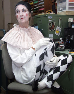 Cataloguer Angela Selter is ready to help in her harlequin costume.