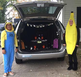 Rylee Walker, dressed as a minion, and Hannah Rawlings, dressed as a banana, for trunk or treat at Lebanon Baptist Church.