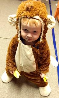 Liam Hardin, 2, dressed as a monkey for Halloween.