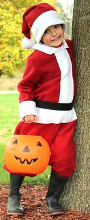 Eric Mattingly dressed as Santa Claus for Halloween.