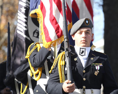 Timothy Gillum leads the Marion County High School JROTC Color Guard as they prepare to post the colors.