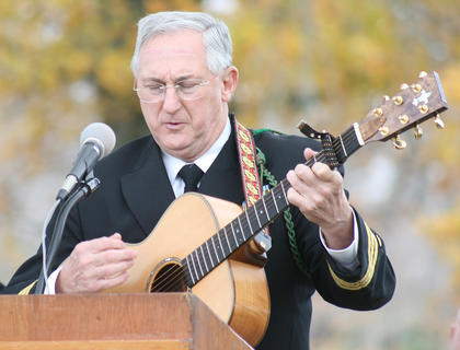 "Commander Benedict Brown sings Garth Brooks' ""The River"". Brown is a retired military chaplain, and he said he would sing that song when performing baptisms during combat deployments."