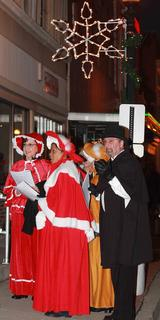 Lebanon Main Street and the Marion County Chamber of Commerce held their annual Dickens Christmas festival Nov. 23. Between horse-drawn buggy rides, strolling carolers and a parade, visitors sampled chili and sipped on hot chocolate and hot cider to keep warm. After serving as grand marshal in the parade, Santa visited with boys and girls about their Christmas wishes. A group of carolers walked throughout the crowd (and occasionally indoors) singing Christmas songs.