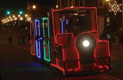 A festively decorated train provided rides up and down Main Street.