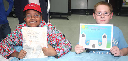 "Local ""Young Authors"" proudly display their books."