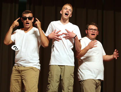 Pictured, from left, are Sam Beyer, Addison Stiles and Jordan Baize performing a Backstreet Boy song and dance routine.