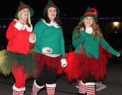 These three elves were tutu cute. They are, from left, Mary Brahm, Cameron Lunsford and Hannah Buckman.