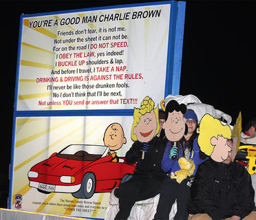 The Marion County Rescue Squad's float put a new twist on the Charlie Brown theme with a strong message about driving safety.