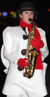 Julie Nugent Robinson is a saxophone-playing snowman.
