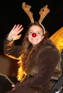 Rudolph the Red-Nosed Reindeer, also known as Abby Miles, and her family have been in the Loretto Christmas Parade since it began.