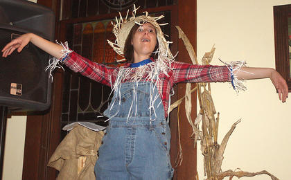 Lauren Brady plays the cornfield's scarecrow and delivers one-liners.
