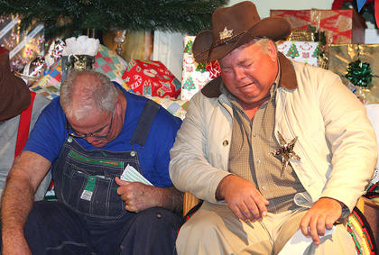 Doug Thompson, playing the sheriff, and State Rep. Terry Mills, perform during the &quot;Gloom, Despair and Agony On Me&quot; sketch. Together, they sang, &quot;Gloom, despair and agony on me-e! Deep dark depression, excessive misery-y! If it weren&#039;t for bad luck I&#039;d have no luck at all! Gloom, despair and agony on me-e-e!&quot;