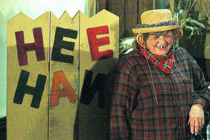 Janice Richardson laughs with the crowd during the HEE HAW performance.