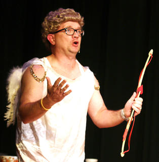 "Jeremy Bowman plays the part of Cupid in ""Holiday Celebrities."""