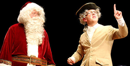 "Santa, played by Lebanon Methodist Church Pastor Chris Howlett, discusses the meaning of Christmas with George Washington, played by Zachary Brady in ""Holiday Celebrities."""