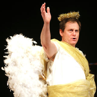 "Steve Humphress plays the part of the angel Gabriel in ""Holiday Celebrities."""